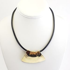 Chico's Necklace Leather Cord Hammered Pendant